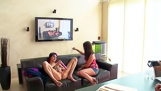 Slutty turned on and playful teens Brandi and Stacey Sexton wtih long sexy legs and tight asses in short denim skirts get naughty and have at interview while playing with big vibrator