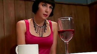 In this fantasy role-play Coral Aorta plays a girl going out on a first date with a kinky older man. In the restaurant he makes her play with her pussy under the table.