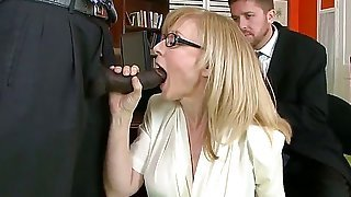 Business woman wanna test her new worker. She thinks that activity of man is concluded in his penis posibilities...So she take his black dick and starts to taste his arsenal.