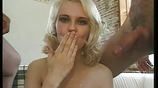 Norwegian blond whore acquires the Ben Dover treatment