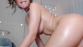 Young submissive trying to fill her ass for daddy...