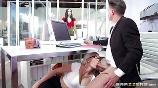 Blonde Sucks Cock At Work