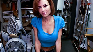 Big tit MILF squirts in the backroom