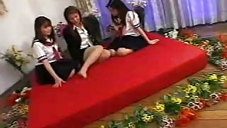 Three Japanese whores in kinky sapphic scene