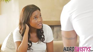 Lovely ebony babe Yara Skye is pummeled by a hard cock