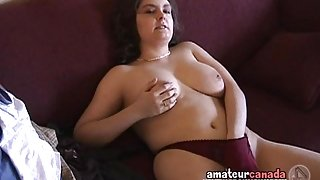 Big natural tit amateur geek with hairy pussy filming BF