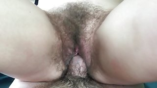 Creampie in her hairy pussy